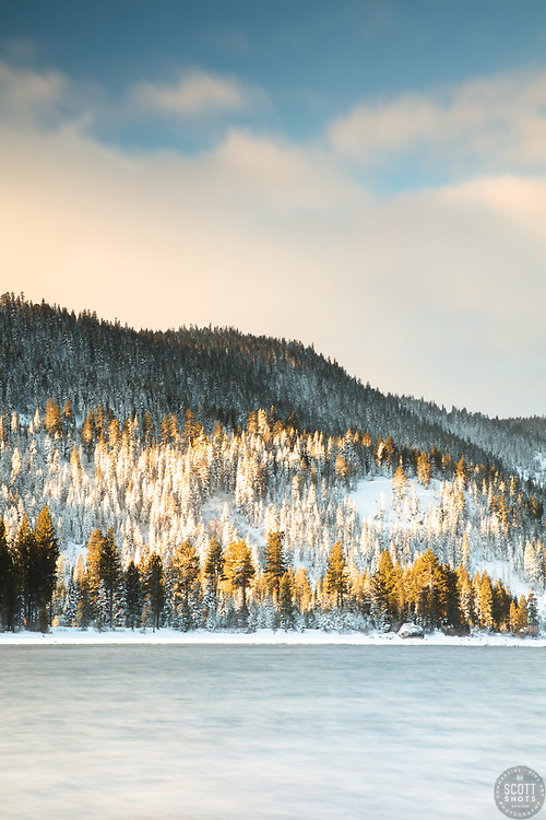 """""""Donner Lake Morning 21"""" - Photograph of Donner Lake shot in the morning, right after a snow storm."""