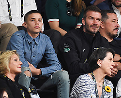 Romeo Beckham and David Beckham attend the Wheelchair Basket Finals, Quay Centre, Olympic Park, Sydney. Photo credit should read: Doug Peters/EMPICS
