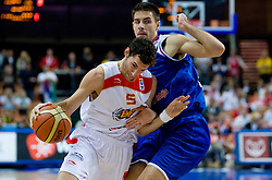 Rudy Fernandez of Spain vs Milenko Tepic of Serbia during the EuroBasket 2009 Final match between Spain and Serbia, on September 20, 2009, in Arena Spodek, Katowice, Poland.   (Photo by Vid Ponikvar / Sportida)