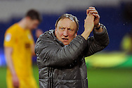 Cardiff City manager Neil Warnock applauds the fans after the game. EFL Skybet championship match, Cardiff city v Preston North End at the Cardiff City stadium in Cardiff, South Wales on Tuesday 31st January 2017.<br /> pic by Carl Robertson, Andrew Orchard sports photography.