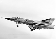 Israeli Air Force Dassault Mirage IIICJ fighter plane in flight - Archival Black and white Image ..