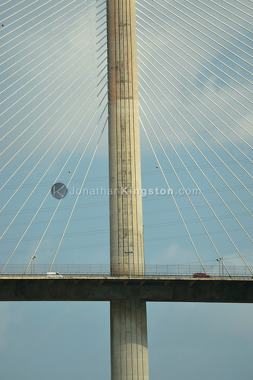 Low angle view of cars crossing the Centennial Bridge, which links the north west and south east sides of the Panama Canal, Panama.