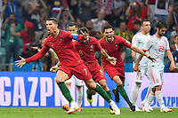 Torjubel Cristiano RONALDO (POR) nach Tor per Freistoss zum 3-3,Aktion, Jubel,Freude,Begeisterung, Portugal (POR)-Spanien (ESP) 3-3, Vorrunde, Gruppe B, Spiel 1, am 15.06.2018 in SOTSCHI,Fisht Olymipic Stadium. Fussball Weltmeisterschaft 2018 in Russland vom 14.06. - 15.07.2018. *** Goalkeeper Cristiano RONALDO POR scored the free kick for 3 3 Action Cheers Delight Enthusiasm Portugal POR Spain ESP 3 3 Preliminary Group B Match 1 on 15 06 2018 in SOCHI Fisht Olymipic Stadium Football World Cup 2018 in Russia from 14 06 15 07 2018