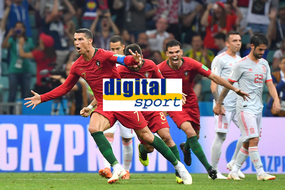 Torjubel Cristiano RONALDO (POR) nach Tor per Freistoss zum 3-3,Aktion, Jubel,Freude,Begeisterung, Portugal (POR)-Spanien (ESP) 3-3, Vorrunde, Gruppe B, Spiel 1, am 15.06.2018 in SOTSCHI,Fisht Olymipic Stadium. Fussball Weltmeisterschaft 2018 in Russland vom 14.06. - 15.07.2018. *** Goalkeeper Cristiano RONALDO POR scored the free kick for 3 3 Action Cheers Delight Enthusiasm Portugal POR Spain ESP 3 3 Preliminary Group B Match 1 on 15 06 2018 in SOCHI Fisht Olymipic Stadium Football World Cup 2018 in Russia from 14 06 15 07 2018