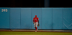 June 27, 2017 - Los Angeles, California, U.S. - Los Angeles Angels left fielder Eric Young Jr. after a three run home run by Los Angeles Dodgers' Joc Pederson (not pictured) in the sixth inning of a Major League baseball game at Dodger Stadium on Tuesday, June 27, 2017 in Los Angeles. (Photo by Keith Birmingham, Pasadena Star-News/SCNG) (Credit Image: © San Gabriel Valley Tribune via ZUMA Wire)