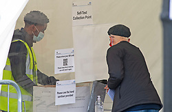 ©Licensed to London News Pictures 24/09/2020  <br /> Orpington, UK. A man collecting his self test silver bag from the collection point. A coronavirus self testing centre at Cotmandene Crescent car park in Orpington, South East London has been very quiet today with no long queues of people. The site is being run by security firm G4S on behalf of the Government. Photo credit:Grant Falvey/LNP