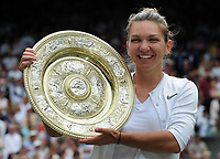 Tennis - 2019 Wimbledon Championships - Week Two, Saturday (Day Twelve)<br /> <br /> Women's Singles, Final: Serena Williams (USA) vs. Simona Halep (ROU)<br /> <br /> Williams serves, on Centre Court.<br /> <br /> COLORSPORT/ANDREW COWIE