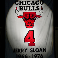 17 December 2009:  Close view of Jerry Sloan #4 retired jersey during the Chicago Bulls 98-89 victory over the New York Knicks at the United Center, in Chicago, Illinois, USA.