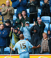 Photo: Mark Stephenson.<br /> Coventry City v Hull City. Coca Cola Championship. 18/08/2007.Coventry's Leon McKenzie celerbrates his goal with the fans
