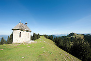 Hiking the Alpe Adria Trail, near Valbruna, Friuli Venezia Giulia region in northern Italy (August 2015). Pictured here, a small chapel on the border between Italy and Austria. © Rudolf Abraham