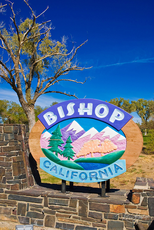 Bishop town sign on Highway 395, Eastern Sierra Nevada Mountains, California