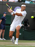 Tennis - 2019 Wimbledon Championships - Week Two, Wednesday (Day Nine)<br /> <br /> Men's Singles, Quarter-Final: Sam Querry (USA) v Rafael Nadal (ESP)<br /> <br /> Rafael Nadal on Court 1.<br /> <br /> COLORSPORT/ANDREW COWIE