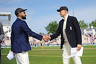 Virat Kohli of India and Joe Root of England shake hands ahead if the first day of the 4th SpecSavers International Test Match 2018 match between England and India at the Ageas Bowl, Southampton, United Kingdom on 30 August 2018.