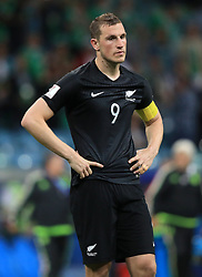 New Zealand's Chris Wood shoes his dejection after the final whistle as his side go out of the competition