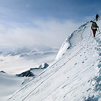 Climbers on first ascent of Mount Vaughan in Trans-Antarctic Mountains.