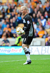 Leicester City's Kasper Schmeichel - Photo mandatory by-line: Joe Meredith/Josephmeredith.com  - Tel: Mobile:07966 386802 16/09/2012 - Wolves v Leicester City - SPORT - FOOTBALL - Championship -  Wolverhampton  -  Molineux Stadium  -