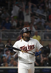 May 31, 2018 - Minneapolis, MN, U.S. - MINNEAPOLIS, MN - MAY 31: Minnesota Twins Third base Miguel Sano (22) watches the ball fly out of the yard for a 3-run home run in the bottom of the 7th during a MLB game between the Minnesota Twins and Cleveland Indians on May 31, 2018 at Target Field in Minneapolis, MN. The Indians defeated the Twins 9-8.(Photo by Nick Wosika/Icon Sportswire) (Credit Image: © Nick Wosika/Icon SMI via ZUMA Press)