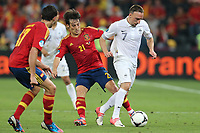 FOOTBALL - UEFA EURO 2012 - DONETSK - UKRAINE  - 1/4 FINAL - SPAIN v FRANCE - 23/06/2012 - PHOTO PHILIPPE LAURENSON /  DPPI - DAVID SILVA (ESP) / FRANCK RIBERY (FRA)