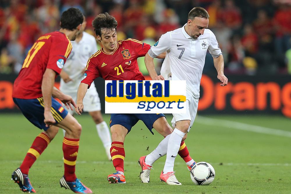 FOOTBALL - UEFA EURO 2012 - DONETSK - UKRAINE  - 1/4 FINAL - SPAIN v FRANCE - 23/06/2012 - PHOTO PHILIPPE LAURENSON /  DPPI - DAVID SILVA (ESP) / FRANCK RIBERY (FRA)