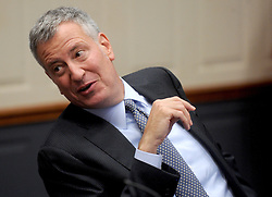 Mayor Bill de Blasio speaks at a press conference to discuss crime statistics in New York City, NY, USA, on August 4, 2016. Bratton announced Tuesday that he will be resigning as NYPD commissioner. Photo by Dennis Van Tine/ABACAPRESS.COM