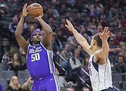 February 3, 2018 - Sacramento, CA, USA - The Sacramento Kings' Zach Randolph (50) hits a basket as he's defended by the Dallas Mavericks' Dwight Powell (7) at the Golden 1 Center in Sacramento Calif., on Saturday, Feb. 3, 2018. (Credit Image: © Hector Amezcua/TNS via ZUMA Wire)