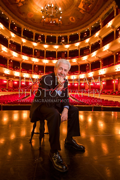 """David DiChiera, the General Director of the Michigan Opera Theatre, and the composer of """"Cyrano"""" poses for a portrait before the Wednesday evening preformance of the opera in Philadelphia, Pa., 13 Feb. 2008. (Photograph by Jim Graham )"""