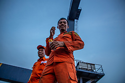 November 2, 2018 - North Jakarta, Jakarta, Indonesia - Jakarta, Indonesia, 02 November 2018 : Search and Rescue team activity at Tanjung Priok Harbour-Jakarta. Indonesian Search and Rescue team known as ''BASARNAS'' work silmutanously in searching for the victim of the Lion Air Plane crash and finding fuselage of the plane helped by Indonesian Millitary. (Credit Image: © Donal Husni/ZUMA Wire)