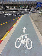 Bicycle lane in Jerusalem, Israel