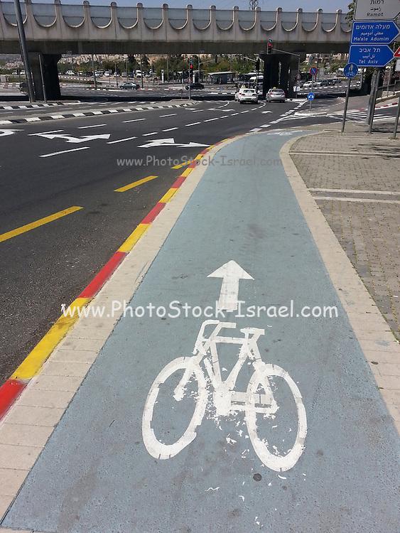 Bicycle lane in Jerusalem, Israel