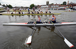 © Licensed to London News Pictures. 27/06/2012. Henley-on-Thames, UK Sam Scowen and Nick Beighton set out onto the Henley course. Great Britain's rowing team for the London 2012 Paralympics was announced during Wednesday's lunch interval and the four crews rowed down the Henley course through the enclosures. Henley Royal Regatta on June 26, 2012 in Henley-on-Thames, England. The 172-year-old rowing regatta is held 27th June- 1st July 2012. Photo credit : Stephen Simpson/LNP