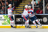 KELOWNA, BC - SEPTEMBER 21:  Adam Beckman #34, Filip Král #18 and Jake McGrew #8 of the Spokane Chiefs celebrate a goal against the Kelowna Rockets at Prospera Place on September 21, 2019 in Kelowna, Canada. (Photo by Marissa Baecker/Shoot the Breeze)