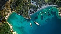 Aerial view of boats moored in the bay of island Ithaca in Greece.