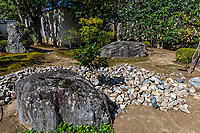 Saionji Temple Garden is composed of unusual hillocks of large stones arranged in its courtyard. These mounds of stones are surrounded by earth and moss.  The main hall of Saionji was reconstructed after the greaet fire of 1788, and it was originally at the foot of Mt Kinugasa.  The name of the temple was used for the Saionji family a branch of the Fujiwara's of the Kamakura Shogunate.