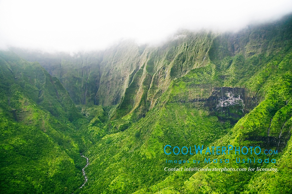 Mount Wai`ale`ale or Waialeale Crater, waterfalls, and Wailua River, Kauai, Hawaii