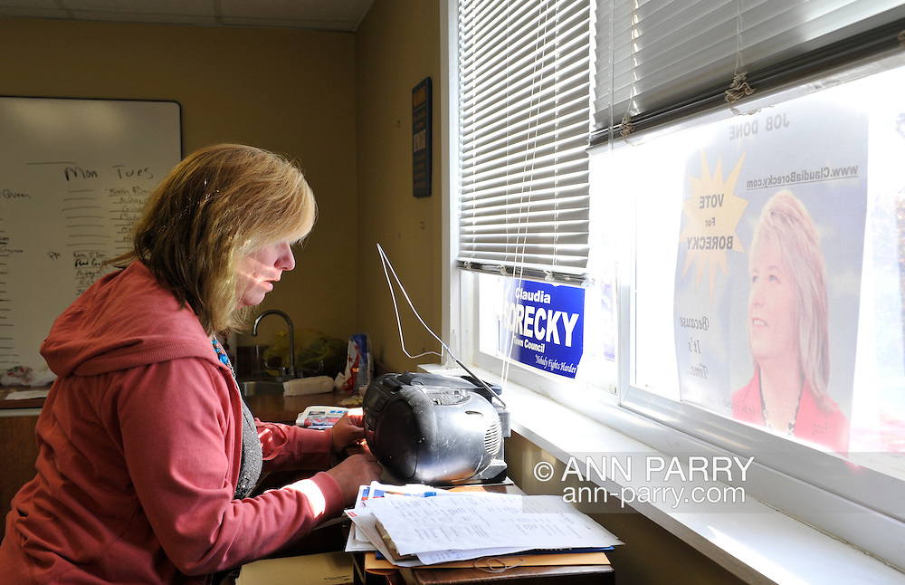 Election Day, candidate Claudia Borecky running for Town of Hempstead Town Council, at her campaign office in Merrick, New York, on November 8, 2011.