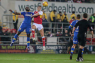 Souleymane Doukara (Leeds United) and Stephen Kelly (Rotherham United) jump for the ball during the EFL Sky Bet Championship match between Rotherham United and Leeds United at the New York Stadium, Rotherham, England on 26 November 2016. Photo by Mark P Doherty.