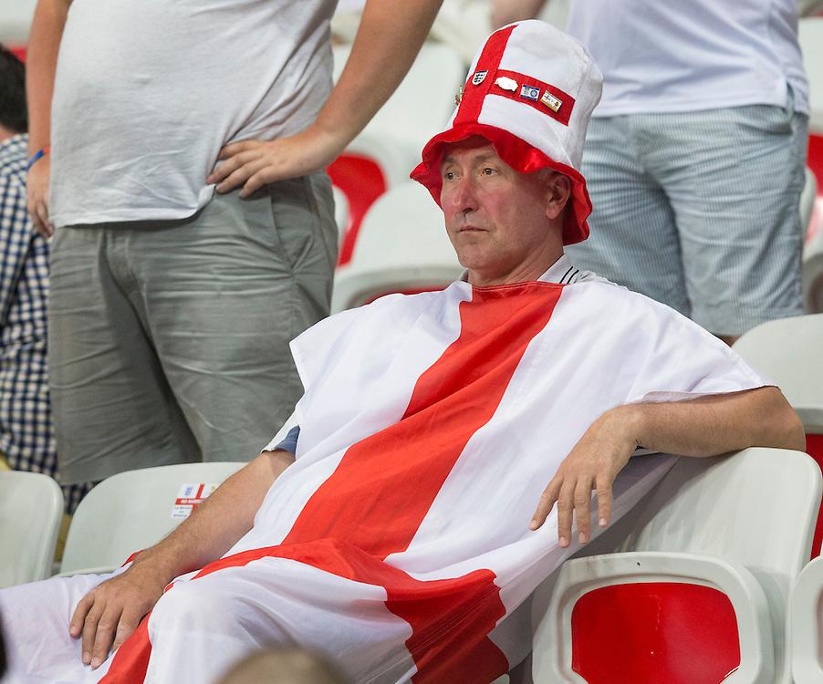 Dejection for England fans at full time<br /> <br /> Photographer Craig Mercer/CameraSport<br /> <br /> International Football - 2016 UEFA European Championship - GROUP OF 16 - England v Iceland - Monday 27th June - 2016 - Stade de Nice, Nice - France <br /> <br /> World Copyright © 2016 CameraSport. All rights reserved. 43 Linden Ave. Countesthorpe. Leicester. England. LE8 5PG - Tel: +44 (0) 116 277 4147 - admin@camerasport.com - www.camerasport.com