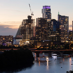 The Austin, Texas downtown skyline looking west from a lower Rainey Street apartment tower during early May.  Austin continues to be one of the fastest growing cities in the U.S. despite the pandemic slowdown.