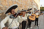 A mariachi band dressed in traditional charro costumes November 5, 2013 in Oaxaca, Mexico.