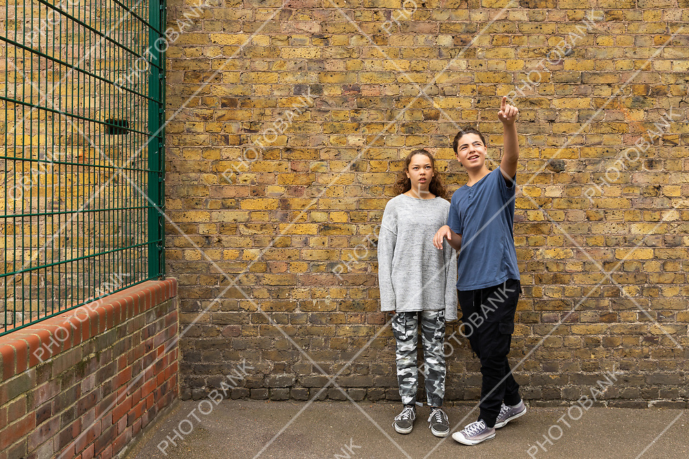 A couple, boy and girl, stand in front of a brick wall and look at the sky, pointing at it.