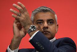 © Licensed to London News Pictures . 30/09/2015 . Brighton , UK . Labour candidate for London Mayor , SADIQ KHAN in the conference hall . The 2015 Labour Party Conference . Photo credit : Joel Goodman/LNP