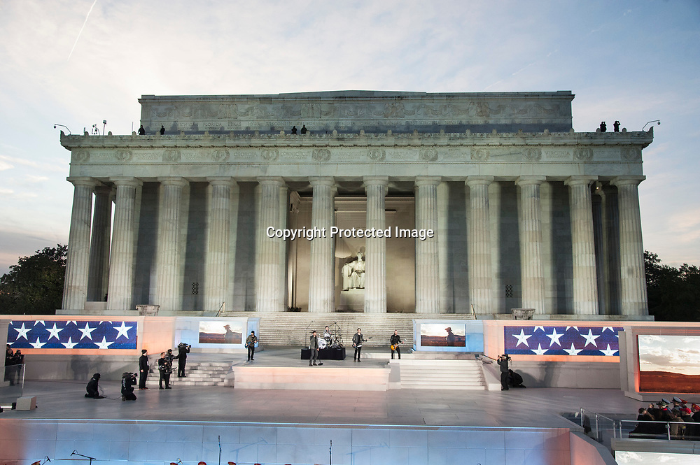 Brad Arnold, Chris Henderson, Greg Upchurch, Chet Roberts andJustin Biltonen of 3 Doors Down performs during The 58th Presidential Inauguration Welcome Concert  at the Lincoln Memorial in Washington DC on January 19, 2017.