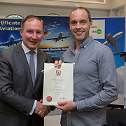 24.05.2018.       <br /> The Limerick Institute of Technology with Atlantic Air Adventures and funding from the Aviation Skillnet presented over forty certificates to Aviation professionals who have completed the Certificate in Aviation, The Aircraft Records Technician Level 7 and Part 21 Design, Level 7.<br /> <br /> Pictured at the event was Jim Gavin, The Irish Aviation Authority and Manager of the Dublin Football Team who presented, Niall Dowds with their cert.<br /> <br /> LIT in partnership with Atlantic Air Adventures, CAE Parc Aviation, Part 21 Design and industry experts such as Anton Tams, GECAS, Don Salmon, CAE Parc Aviation and Mick Malone, Part 21 Design have developed and deliver these key training programmes with funding for aviation companies provided by The Aviation Skillnet.<br /> <br /> . Picture: Alan Place