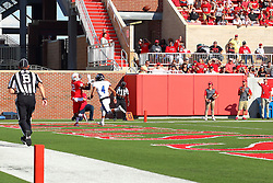 17 September 2016:  Christian Gibbs catches a pass from Jake Kolbe early in the 3rd quarter for the Redbirds 1st score of the game while defended by Pnon Choy. NCAA FCS Football game between Eastern Illinois Panthers and Illinois State Redbirds for the 105th Mid-America Classic on Family Dat at Hancock Stadium in Normal IL (Photo by Alan Look)