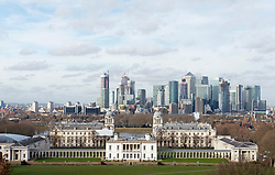 © Licensed to London News Pictures. 12/02/2019. Greenwich,Canary Wharf and Queens House. Bright and milder weather today in Greenwich Park, South East London . Photo credit: Grant Falvey/LNP