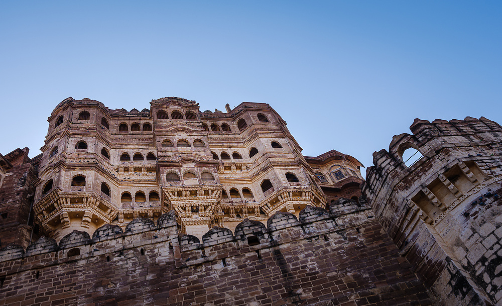 JODHPUR, INDIA - CIRCA NOVEMBER 2018: View of the Mehrangarh Fort in Jodhpur. The fort is one of the largest forts in India. Built in around 1459 by Rao Jodha, the fort is situated above the city and is enclosed by imposing thick walls. Jodhpur is the second largest city in the Indian state of Rajasthan. Jodhpur is a popular tourist destination, featuring many palaces, forts and temples, set in the stark landscape of the Thar Desert. It is popularly known as Blue city and Sun city among people of Rajasthan and all over India