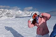 Italy, Madonna di Campiglio. snowboarder