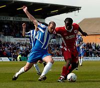 Photo: Jed Wee.<br />Hartlepool United v Bristol City. Coca Cola League 1. 15/04/2006.<br /><br />Bristol City's Mark McCammon (R) takes on Hartlepool's Ben Clark.