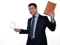 man caucasian teacher professor teaching rising book isolated studio on white background