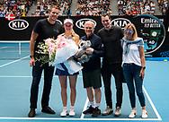 Caroline Wozniacki of Denmark and family during her retirement ceremony at the 2020 Australian Open, WTA Grand Slam tennis tournament on January 24, 2020 at Melbourne Park in Melbourne, Australia - Photo Rob Prange / Spain ProSportsImages / DPPI / ProSportsImages / DPPI